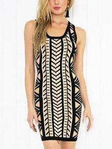Multicolor Geometric Print Sheath Dress