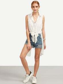 White Sleeveless Chiffon Equipment Blouse