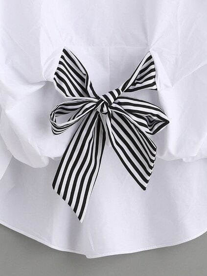White Striped Tie Front Puff Sleeve Blouse