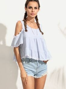 Pale Blue Open Shoulder Applique Crop Top