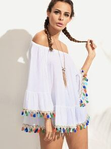 White Off The Shoulder Bell Sleeve Tassel Trimmed Top
