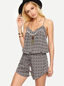 Multicolor Criss Cross Back Slip Print Jumpsuit