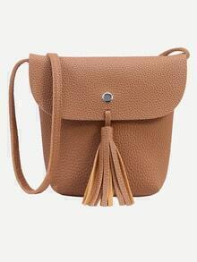 Brown Tassel Trim Flap Bucket Bag
