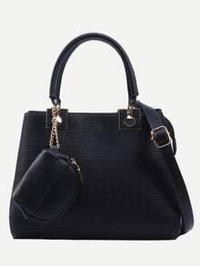 Black Embossed Faux Leather Metal Detail Satchel Bag
