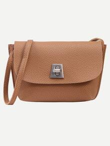 Brown Pebbled Faux Leather Turnlock Flap Bag