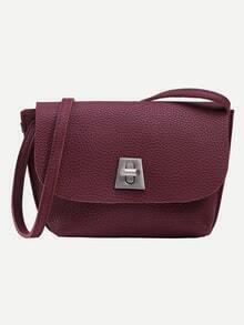 Burgundy Pebbled Faux Leather Turnlock Flap Bag