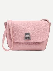 Pink Pebbled Faux Leather Turnlock Flap Bag