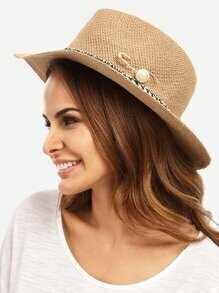Khaki Vacation Pearl Pin Straw Hat