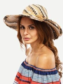Multicolor Vacation Large Brimmed Straw Hat