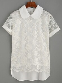 Embroidery White Sheer Mesh Short Sleeve Blouse