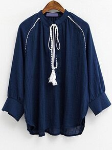 Navy Dip Hem Blouse With Tassel Tie