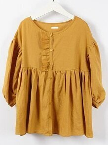 Ruffle Dark Yellow Pleated Blouse
