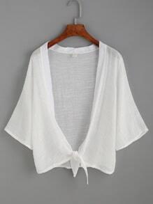 Plain White Knotted Front Kimono