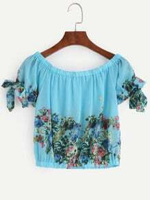 Blue Floral Print Boat Neck Bow Tie Sleeve Top