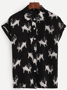 Black Bulldog Print Cuffed Sleeve Blouse