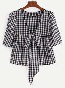 V Neck Plaid Knotted Front Peplum Blouse