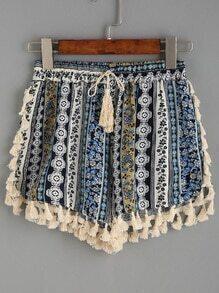 Tassel Trimmed Tribal Print Drawstring Waist Shorts