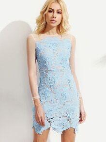 Blue Mesh Sleeve Flower Crochet Overlay Dress