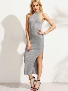 Grey Halter Neck Side Slit Ribbed Dress