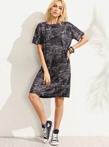 Dark Grey Denim Style Printed Tee Dress