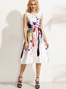 White Paint Splatter Print Fit and Flare Dress