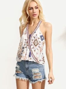 White Tribal Print Top With Embroidered Tape Detail