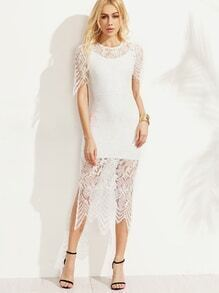 White Cami Sheath Dress With Lace Cover Up
