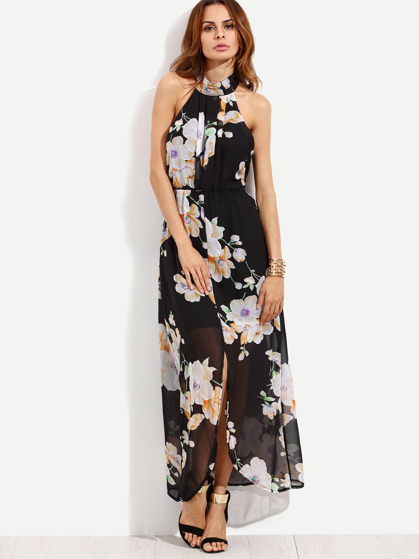 Black Flower Print Halter Neck Slit Chiffon DressFor Women-romwe