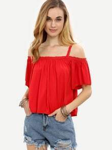 Red Lace Trim Cold Shoulder Top