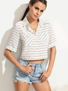 White Striped Dual Pocket Chiffon Blouse