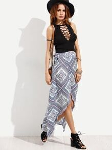 Blue Vintage Print Asymmetric Wrap Skirt