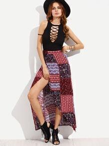 Multicolor Vintage Patch Print Asymmetric Wrap Skirt