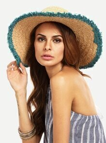 Vacation Green Raw Trim Large Brimmed Hat