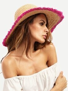 Vacation Red Raw Trim Large Brimmed Hat