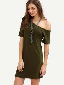 Army Green One Shoulder Short Sleeve Dress
