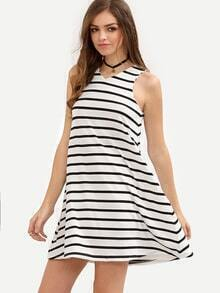 Black and White Striped Sleeveless V Neck Dress