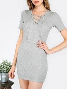 Gray Short Sleeve Lace Up Dress
