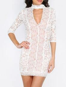 Beige Cut Out Half Sleeve Lace Dress