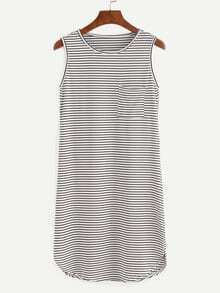 Black White Striped Tank Dress With Pocket