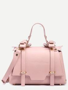 Pink Dual Buckled Strap Front Studded Satchel Bag