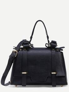 Black Dual Buckled Strap Front Studded Satchel Bag