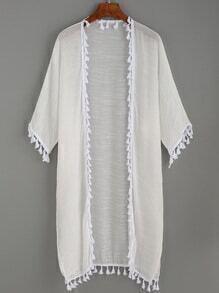 White Tassel Trimmed Long Kimono