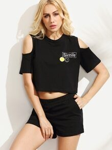 Black Open Shoulder T-shirt With Shorts