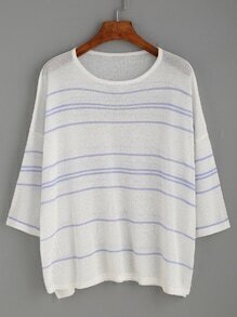 White Striped Drop Shoulder Cover Up Sweater