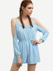 Crochet Blue Cold Shoulder Elastic Waist Romper