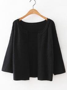 Black Collarless Wave Cardigan Knitwear