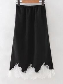 Black Elastic Waist Lace Pleated Skirt