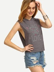 Grey Letter Print Drop Armhole Hooded T-shirt