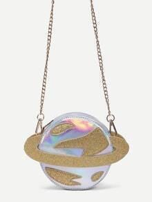 Metallic Silver Saturn Shape Chain Bag
