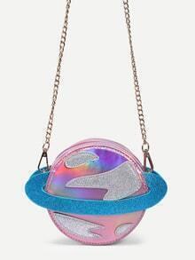 Metallic Pink Saturn Shape Chain Bag